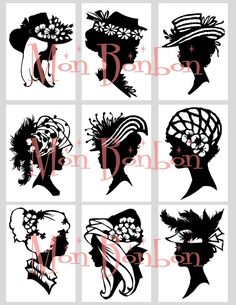 Digital Download Vintage Silhouettes Cameos of Ladies with Hats Collage Sheet ACEO ZNE Black and White. $3.49, via Etsy.
