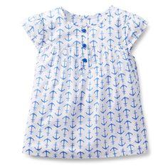 blusa manga corta blanca con estampado de anclas
