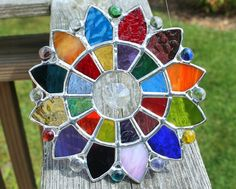 Geometric Multicolored Stained Glass Suncatcher with Glass Crystal Prism