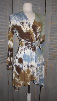 Tie Dye Wrap Cardigan in BrownsDenimSage by designsbyagi on Etsy, $58.00