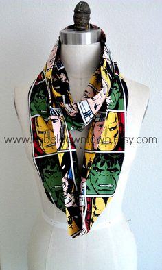 marvel scarf | Marvel Comic Faces Wide Infinity Scarf by RebelDowntown on Etsy