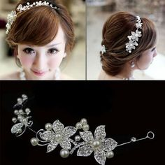 Pretty Czech Rhinestone Crystal Pearl Butterfly Flower Bridal Headband Tiara Hairwear Accessories Wedding Veil Hair Jewelry(China (Mainland))