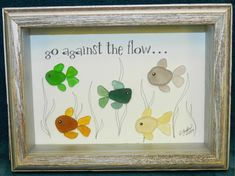 Sea Glass Crafts, Sea Glass Art, Seashell Crafts, Sea Glass Decor, Glass Art Pictures, Jar Art, Shadow Box Frames, Colorful Fish, Rock Crafts