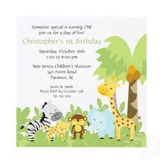 Baby Animal Jungle Birthday Invitation by celebrateitinvites