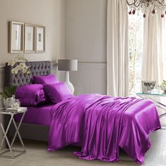 Experience the luxury feeling of the Violet Silk Bed Linen! Incredibly soft and smooth!