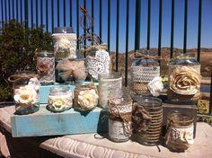 BURLAP LACE MASON Jars. Bulk Mason Jar Centerpieces. Head Table Decor, Rustic Wedding Decor. Wholesale Centerpieces