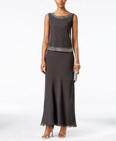 J Kara Embellished Popover Gown - Gray 18