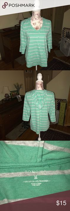 Mint green three-quarter sleeve striped hoodie Cozy mint green sweatshirt style hoodie, three-quarter sleeve length size medium. Sonoma Sonoma Tops Sweatshirts & Hoodies