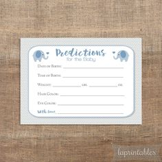Blue Elephant Predictions for the Baby Printable Cards, Blue & Grey Chevron Shower Activity, Guess Baby Weight, Baby Stats, INSTANT DOWNLOAD by laprintables on Etsy https://www.etsy.com/listing/244162619/blue-elephant-predictions-for-the-baby