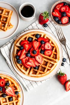 Grandma's incredible, classic buttermilk waffles are made with simple ingredients for the fluffiest homemade waffles that are perfectly crispy on the outside. Top them with fresh berries and a drizzle of pure maple syrup for the best breakfast or brunch! #waffles #buttermilkwaffles #wafflerecipe #healthybreakfast #breakfastrecipe #brunch #brunchrecipe #healthybrunch