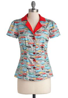 Drive-In Diner Top in Records, #ModCloth  <3, but can't justify $55 for a top.