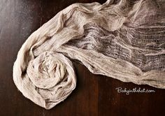 Taupe Newborn Cheesecloth Wrap Photography Prop Hand Dyed 3 ft x 6 ft