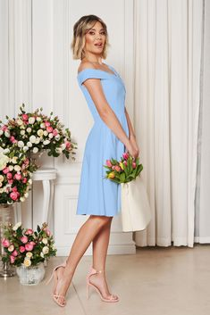 StarShinerS lightblue occasional elegant cloche dress with a cleavage off shoulder flexible thin fabric/cloth Baptism Dress, Dress Cuts, Bridesmaid Dresses, Wedding Dresses, Flower Shape, Special Occasion Dresses, Size Clothing, New Dress, Dress Outfits