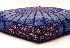 Indian Square Mandala Floor Pillow Case Boho Throw Cushion Ottoman Pouf Dog Bed #Handmade #ArtDecoStyle #FloorPillowCoverOttomanCoverPoufCover