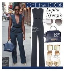 """""""Get The Look-Lupita Nyong'o"""" by kusja ❤ liked on Polyvore featuring Alessandra Rich, Jimmy Choo, Victoria Beckham, GetTheLook, celebstyle and LupitaNyongo"""