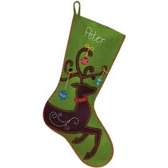 The Ornate Deer Felt Christmas Stocking Kit is an easy felt applique craft kit from Dimensions.  Kit includes presorted cotton thread, die-cut polyester felt & acrylic/polyester felt, needle, and easy instructions with an alphabet for personalization.  Finished stocking is approx. 19 inches long.  Felt pieces are pre-punched with holes for easy embroidery & hand sewing.