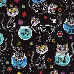 Day of the Dead Kitty - Black/Multi - Timeless Treasures