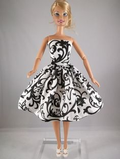 Barbie Clothes Barbie black Print Dress Sold on etsy