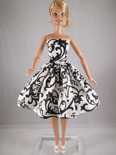 Barbie Clothes Barbie black Print Dress Sold on etsy