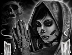 Rest in Peace by Charlie Medina Praying Woman Tattoo Canvas Art Print
