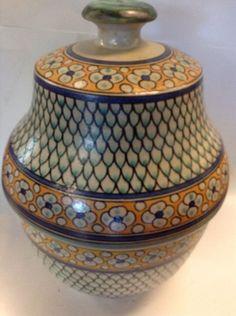 Moroccan Glazed Terracotta Jar Hand Painted Lidded Decor Vase Multicolor Pattern #Handmade #Moroccan