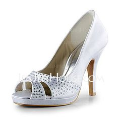 Wedding Shoes - $62.99 - Satin Stiletto Heel Peep Toe Platform Pumps Wedding Shoes With Beading (047020129) http://jenjenhouse.com/Satin-Stiletto-Heel-Peep-Toe-Platform-Pumps-Wedding-Shoes-With-Beading-047020129-g20129