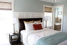 Clever way of accenting the wall between two windows ... could do this in our MB.  Gorgeous wall color