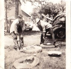 During World War II tires were rationed. As such, my Dad and his friends would go to the junk yard and dig through piles of tire and inner tubes to try and find something they could use. Sorting Tires 1944