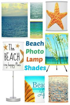 Beach Photo Lampshades: http://www.completely-coastal.com/2016/04/coastal-beach-nautical-lamp-shades.html Make a space bright with a beach theme light!