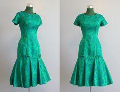 Vintage Dress / 1960s Emerald Party Dress / 60s Fishtail Mermaid Cocktail Dress. $98.00, via Etsy.