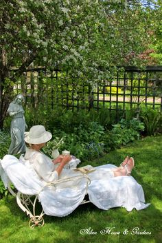 Tea under apple blossoms ~ Look up more garden pins from her. ~ Granny Cox. She has lots of fun boards.