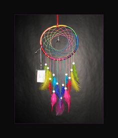 Dreamcatcher Chakra multicolor Rooster feathers Wooden Frame