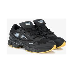 Adidas by Raf Simons  Black Ozweego III lace-up sneakers ($385) ❤ liked on Polyvore featuring men's fashion, men's shoes, men's sneakers, black, adidas mens shoes, mens black sneakers, mens leather sneakers, mens leather shoes and mens black leather sneakers