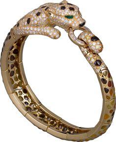 High Jewelry Panthère de Cartier bracelet Yellow gold, enamel, brown jasper…