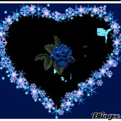 beautibul animation hearts  | this a picture of a pretty blue rose in the middle of a nice big heart ...