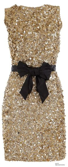 ♔ Gold Sequin dress with black bow tie