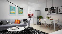 Háromszobás, modern lakás gyerekszobával - színesebb, praktikus, élhető skandináv stílusban