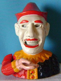 Reproduction cast iron clown (Humpty Dumpty) bank My mom bought one of these. Creepy Toys, Scary Clowns, Cast Iron, It Cast, Penny Bank, Old Toys, Children's Toys, Antique Toys, Antique Metal