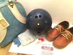 """Bowling Bag, Blue, with 12 lb Ball, Leather Shoes, Accessories, """"Barb"""", Vintage #ColumbiaDexter"""