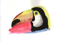 #tucan #acuarelas Parrot, Bird, Outdoor Decor, Animals, Home Decor, Water Colors, So Done, Parrot Bird, Animales