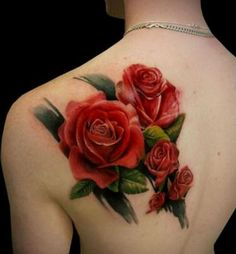 3d red rose tattoos for back