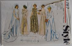 Vintage 1970's Style 1787 Sewing Pattern Wedding Dress Gown Bridal Bridesmaid Renaissance Medieval Influenced by CartrefEclectig on Etsy