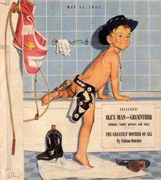 'Cowboy Kid Takes A Bath' by Robert Hilbert- boys bathroom? Little Cowboy, Little Boys, Cowboy Baby, Cowboy Cowboy, Cowboy Gear, Camo Baby, Vintage Advertisements, Vintage Ads, Vintage Signs