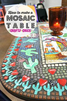 The most epic mosaic table top EVER! - The Crafty Chica Mosaic Outdoor Table, Outdoor Table Tops, Mosaic Tables, Mosaic Table Tops, Outdoor Rooms, Diy Table Top, Make A Table, Bottle Cap Table, Mexican Crafts