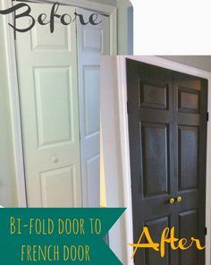 DIY Turn Bi Folding Doors to French Doors. Inspiring me to paint my closet door and make my room pop!
