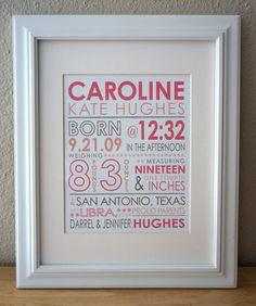 Estadísticas de nacimiento personalizado. niño o niña. anuncio de nacimiento de la tipografía. decoración infantil personalizada.