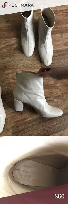 Zara Cream block heel leather boots Gorgeous worn only twice leather heel boots Zara Shoes Heeled Boots