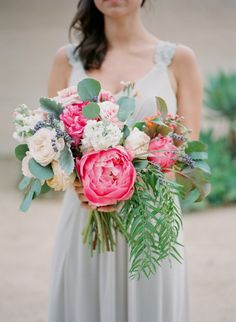 Beyond gorg bridesmaid bouquet: http://www.stylemepretty.com/2014/09/10/vibrant-open-air-wedding-santa-barbara/ | Photography: Diana McGregor - http://www.dianamcgregor.com/