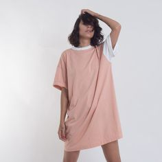 Oversized T shirt dress, boyfriend look, nonchalant, casual HOT COOLNESS! ✄ 100% cotton ✄ Hand-dyed ✄ Standard size measurements:  Bust - 124 cm / 48.8