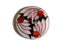 Abstract Wall Clock Pink Wings of Dreams by ZangerGlass